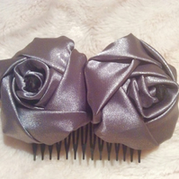 Silver Grey Satin Rose Hair Comb