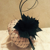 Stylish Nude & Black Pillbox Fascinator on Headband
