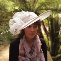 Large Wide Brimmed Ivory and Cream Stylish Hat