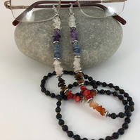 Chakra Glasses Chain with Black Lava Beads Multi Gemstone Lanyard Office Gift