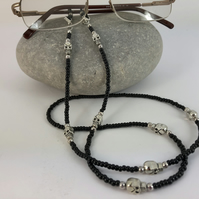 Black Skull Glasses Chain compatible with Skeleton Hands listed separately