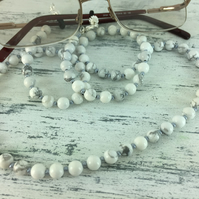 Howlite Glasses Chain Gemstone Necklace Office Gift