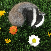 Needle Felted Sleeping Badger - Made to order