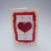 Handmade Valentine's Card Large punched heart with pearl
