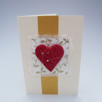 Handmade Valentine's Card. Large textured heart with silver hearts.