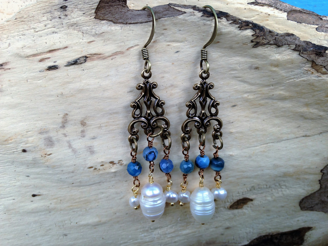 Art Nouveau Art Deco Earrings Pearl