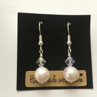 Cream Freshwater Pearl and Swarovski Crystal Sterling Silver Earrings -100FPF