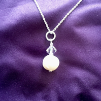 Cream Freshwater Pearl and Swarovski Crystal Sterling Silver Necklace -100FPA