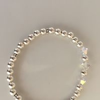 Sterling Silver Stretch Bracelet with Swarovski Crystal Bicone Beads - 100SSB