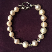 Hand Tied Freshwater Pearl and Swarovski Crystal Toggle Clasp Bracelet -100FPC