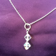 Swarovski Crystal AB Clear Bicone Sterling Silver Necklace -100SCE