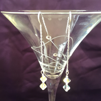 Swarovski Crystal AB Clear Bicone Sterling Silver Drop Chain Earrings -100SCB