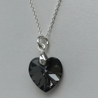 Swarovski Crystal Silver Night Heart Pendant Necklace -100SCK
