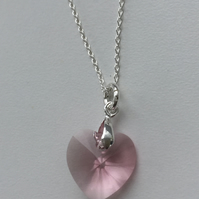 Swarovski Crystal Light Rose Heart Pendant Necklace -100SCJ