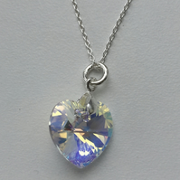 Swarovski Crystal Clear AB Heart Pendant Necklace -100SCI