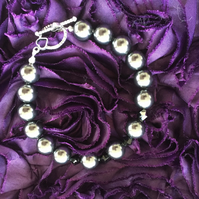 Black Swarovski Pearl and Crystal Bracelet with Toggle Clasp -100SPB