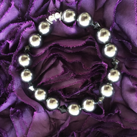 Swarovski Black Pearl and Swarovski Crystal Bead Stretch Bracelet -100SPD