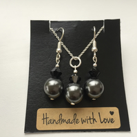 Black Swarovski Pearl and Swarovski Crystal Sterling Silver Set -100SPF
