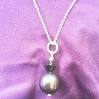 Black Swarovski Pearl and Swarovski Crystal Sterling Silver Necklace -100SPG