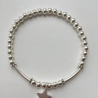 Sterling Silver Stretch Bracelet with Star Charm and Tubes - 100SSC