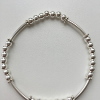 Sterling Silver Stretch Bracelet with Tubes - 100SSE