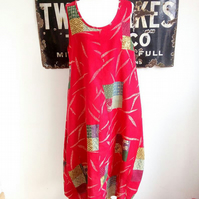Bohemian Vintage Styled Red Patchwork Flowing Summer Pocket Dress
