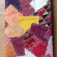 Patchwork-effect fabric slim diary cover, reds & brown colour