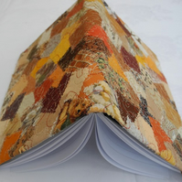 Patchwork-effect fabric A5 diary or notebook cover: brown & yellow
