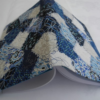 Patchwork-effect fabric A5 diary or notebook cover: blue white & silver