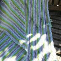 Minty & striped, a spring fresh crocheted stroller or cot blanket