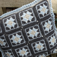 Merino wool, duck egg blue and grey meets the granny square cushion