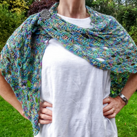 Glorious silk and Italian wool super lightweight crocheted shawl