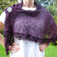 Deep purple exotic crocheted shawl with lace edging in featherweight yarn