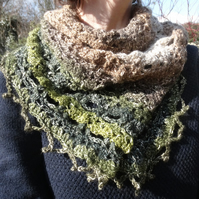 Variegated greens & browns crocheted shawl with a hint of sparkle!