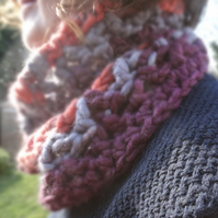 Funky-Chunky super mohair-blend crocheted cowl in delicious purples