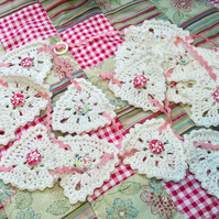 Cotton crocheted  bunting with ricrac ribbon and wooden buttons