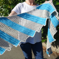 Turquoise and winter white Dragon Wing crocheted shawl in super soft merino wool