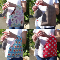 Knitting and crochet arm bags in 3 sizes, in a selection of designs