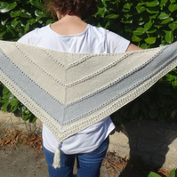 Soft and drapey cream and grey silk & cotton knitted shawl
