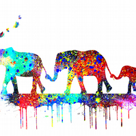 Family of Elephants Giclee Fine Art Print A4 size