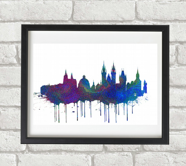 Prague Blue Giclee Fine Art Print A4 size
