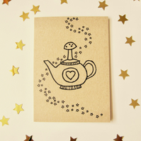 Magic teapot - mini greetings card in black or white