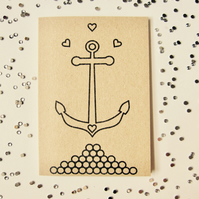 Anchor me down - mini greetings card in BLACK