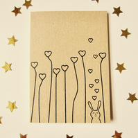 Field of hearts bunny - mini greetings card in black