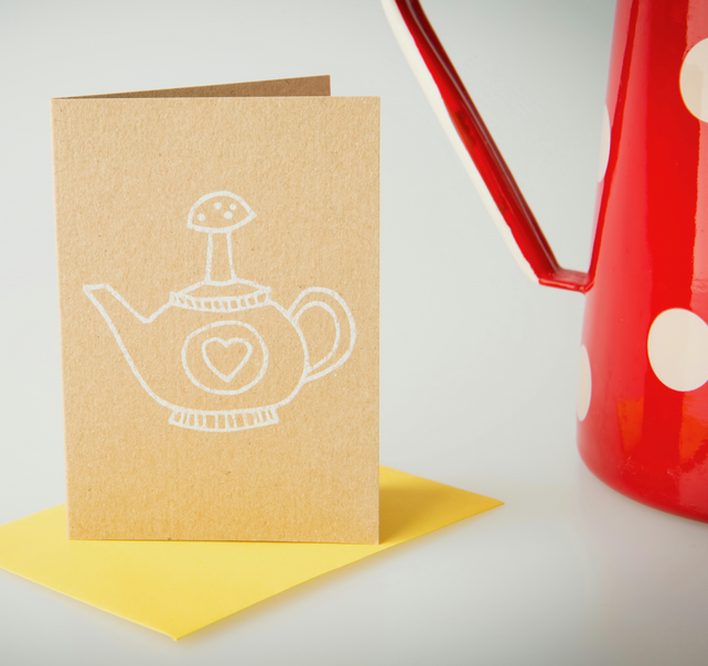 Solo teapot - mini greetings card in WHITE