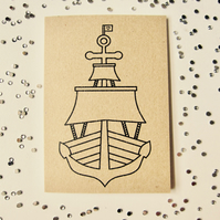 Shipshape - mini greetings card in black or white