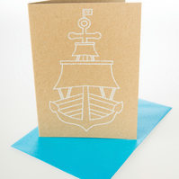 Shipshape - mini greetings card in WHITE