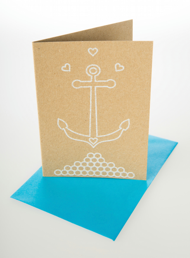 Anchor me down - mini greetings card in WHITE