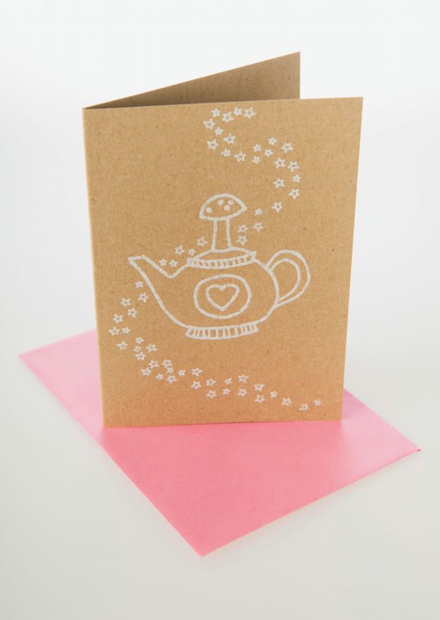 Magic teapot - mini greetings card in WHITE