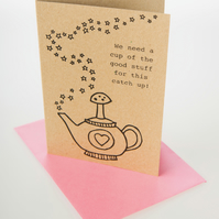 Cup of the good stuff - mini greetings card in black